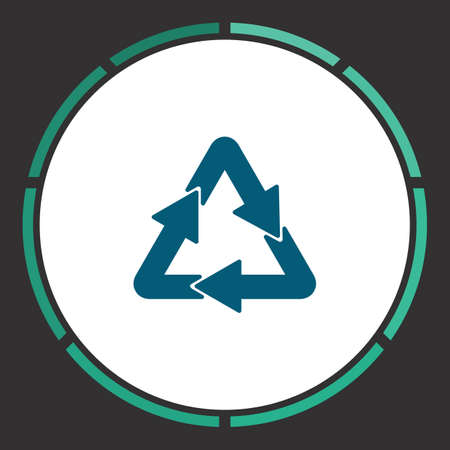 cíclico: Recycling Icon Vector. Flat simple Blue pictogram in a circle. Illustration symbol Vectores