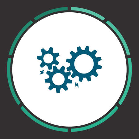 Settings Icon Vector. Flat simple Blue pictogram in a circle. Illustration symbol