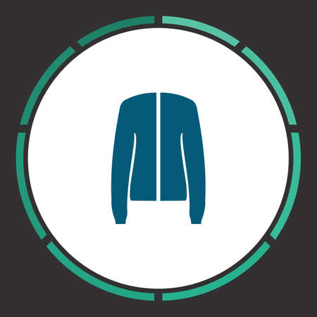 Coat Icon Vector. Flat simple Blue pictogram in a circle. Illustration symbol
