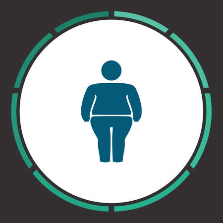 stocky: Fatso Icon Vector. Flat simple Blue pictogram in a circle. Illustration symbol