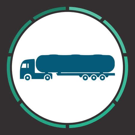 crisper: Tank truck Icon Vector. Flat simple Blue pictogram in a circle. Illustration symbol