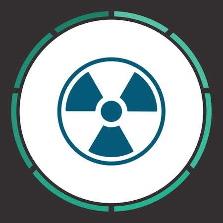 plutonium: Radiation Icon Vector. Flat simple Blue pictogram in a circle. Illustration symbol