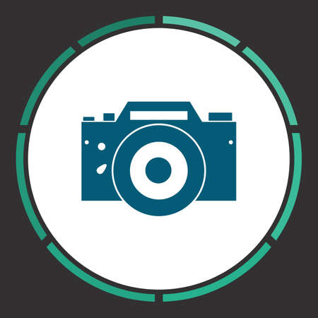 whim: DSLR Icon Vector. Flat simple Blue pictogram in a circle. Illustration symbol