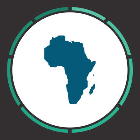 Africa Icon Vector. Flat simple Blue pictogram in a circle. Illustration symbol