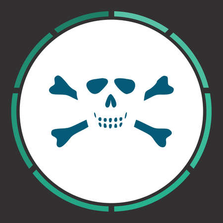 Skull Icon Vector. Flat simple Blue pictogram in a circle. Illustration symbol