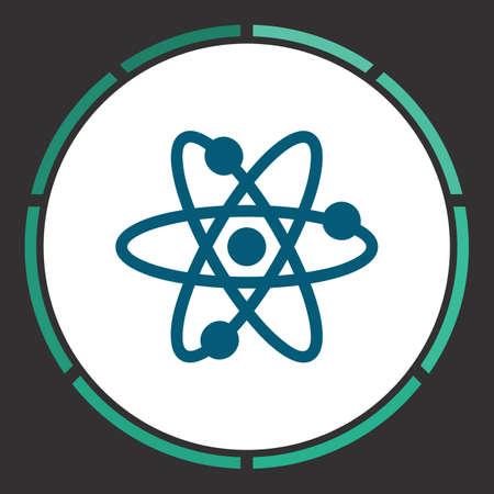 Molecule Icon Vector. Flat simple Blue pictogram in a circle. Illustration symbol