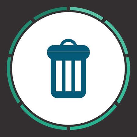 Trash bin Icon Vector. Flat simple Blue pictogram in a circle. Illustration symbol