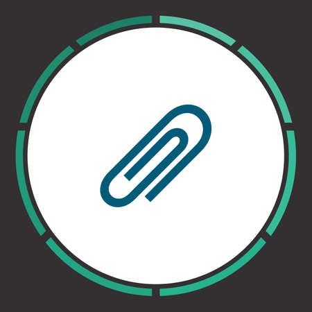 Clip Icon Vector. Flat simple Blue pictogram in a circle. Illustration symbol Illustration