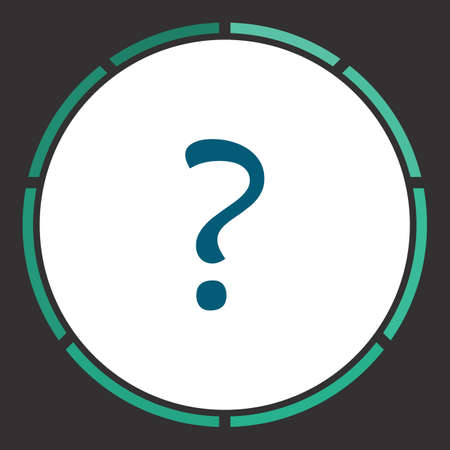 Query Icon Vector. Flat simple Blue pictogram in a circle. Illustration symbol