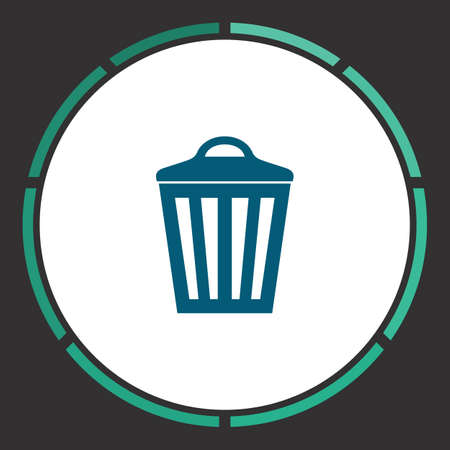 pail tank: Trash bin Icon Vector. Flat simple Blue pictogram in a circle. Illustration symbol