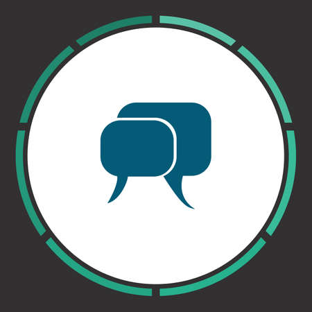 Conversation Icon Vector. Flat simple Blue pictogram in a circle. Illustration symbol Illustration