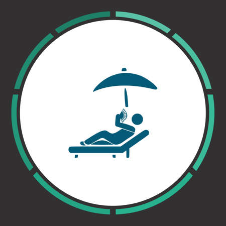 Sunbathe Icon Vector. Flat simple Blue pictogram in a circle. Illustration symbol