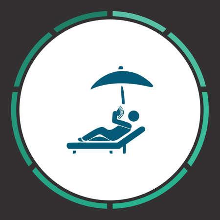 Sunbathe Icon Vector. Piatto semplice Pittogramma blu in un cerchio. Simbolo di illustrazione Vettoriali