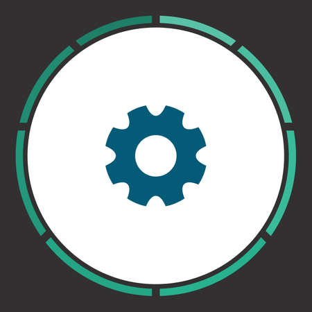 rackwheel: Gear Icon Vector. Flat simple Blue pictogram in a circle. Illustration symbol