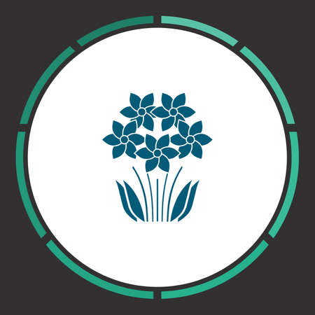 Flower Icon Vector. Flat simple Blue pictogram in a circle. Illustration symbol Illustration