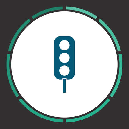 Traffic light Icon Vector. Flat simple Blue pictogram in a circle. Illustration symbol