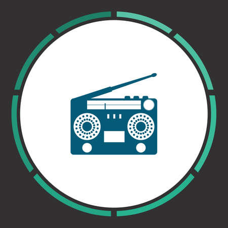 Turntable Icon Vector. Flat simple Blue pictogram in a circle. Illustration symbol