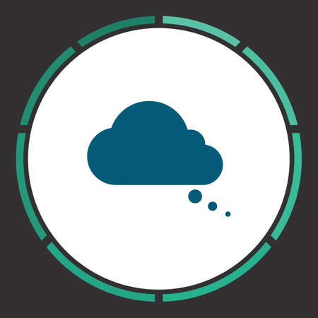 halfone: Cloud Icon Vector. Flat simple Blue pictogram in a circle. Illustration symbol