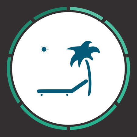 daybed: Beach Icon Vector. Flat simple Blue pictogram in a circle. Illustration symbol