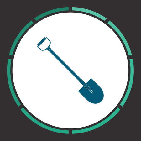 Shovel Icon Vector. Flat simple Blue pictogram in a circle. Illustration symbol