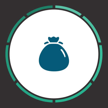 Bag Icon Vector. Flat simple Blue pictogram in a circle. Illustration symbol