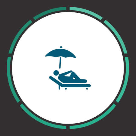 Relax Icon Vector. Flat simple Blue pictogram in a circle. Illustration symbol Illustration