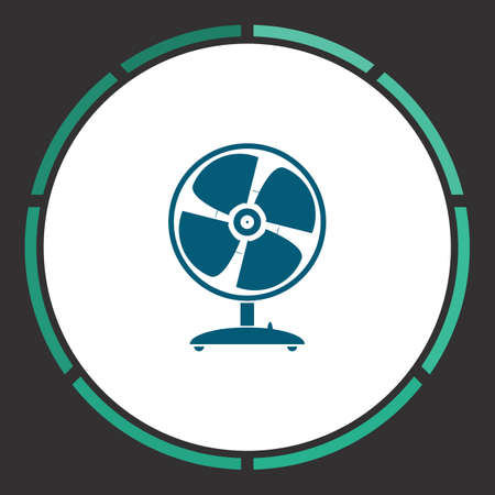 heatwave: Fan Icon Vector. Flat simple Blue pictogram in a circle. Illustration symbol Illustration