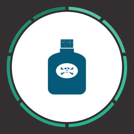 poison symbol: Poison Icon Vector. Flat simple Blue pictogram in a circle. Illustration symbol