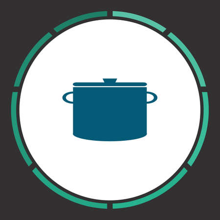 borscht: Pot Icon Vector. Flat simple Blue pictogram in a circle. Illustration symbol