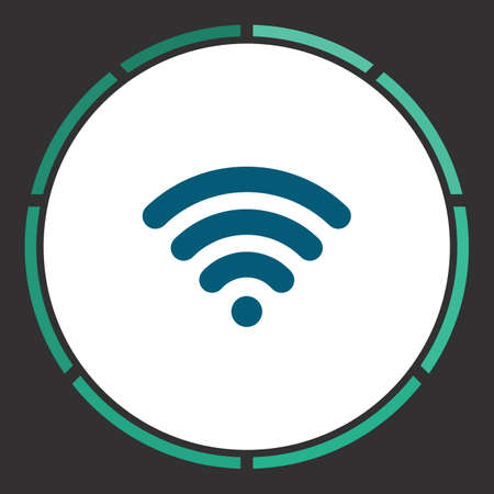 Wireless Icon Vector. Flat simple Blue pictogram in a circle. Illustration symbol Illustration