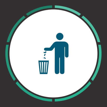 urn: Bin Icon Vector. Flat simple Blue pictogram in a circle. Illustration symbol