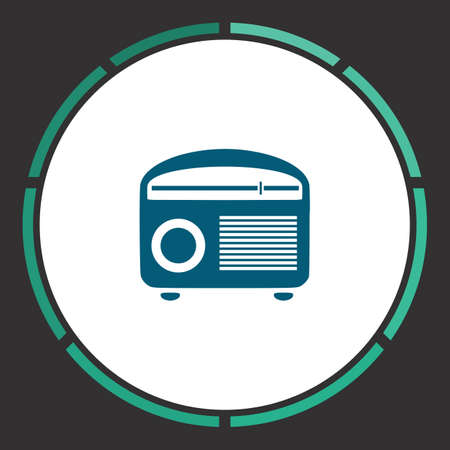 admiral: Tuner Icon Vector. Flat simple Blue pictogram in a circle. Illustration symbol
