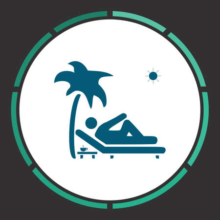 palm reading: Holiday Icon Vector. Flat simple Blue pictogram in a circle. Illustration symbol
