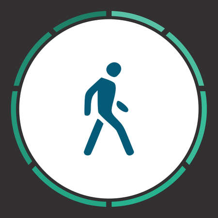 Pedestrian Icon Vector. Flat simple Blue pictogram in a circle. Illustration symbol