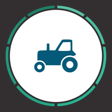 Tractor Icon Vector. Flat simple Blue pictogram in a circle. Illustration symbol