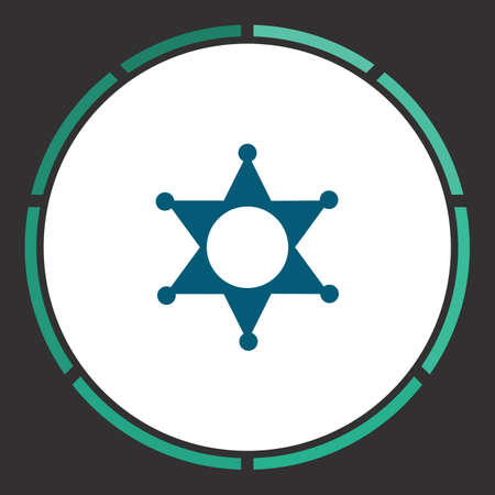 Police Icon Vector. Flat simple Blue pictogram in a circle. Illustration symbol