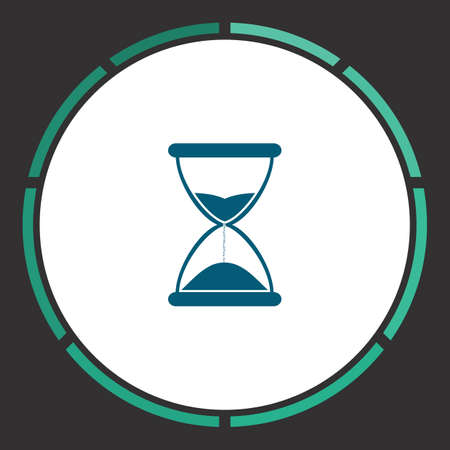 Time Icon Vector. Flat simple Blue pictogram in a circle. Illustration symbol