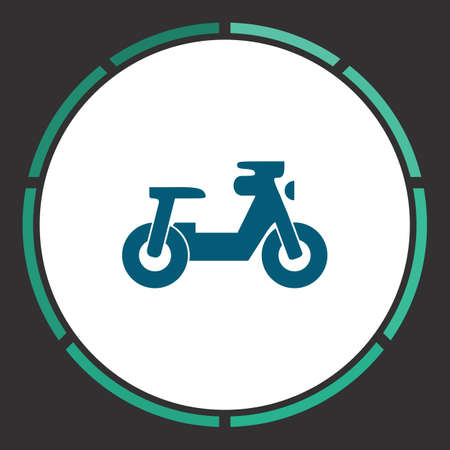 Motorcycle Icon Vector. Flat simple Blue pictogram in a circle. Illustration symbol
