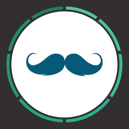 burly: Whiskers Icon Vector. Flat simple Blue pictogram in a circle. Illustration symbol Illustration
