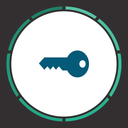 Key Icon Vector. Flat simple Blue pictogram in a circle. Illustration symbol