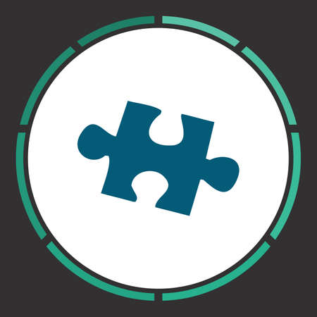 Puzzle Icon Vector. Flat simple Blue pictogram in a circle. Illustration symbol