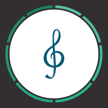 quaver: Note Icon Vector. Flat simple Blue pictogram in a circle. Illustration symbol