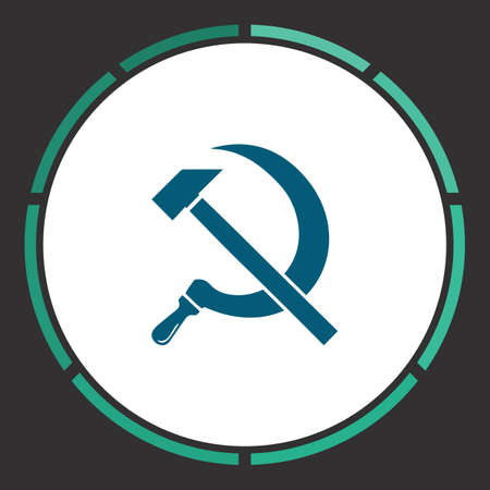Hammer sickle Icon Vector. Flat simple Blue pictogram in a circle. Illustration symbol