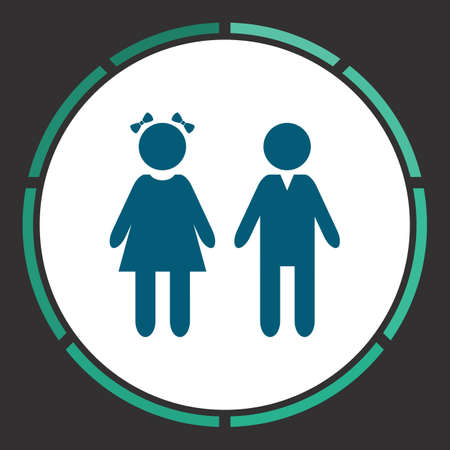 Girl boy Icon Vector. Flat simple Blue pictogram in a circle. Illustration symbol