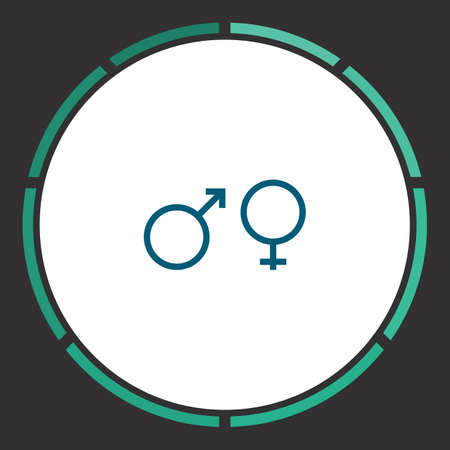 Sex Icon Vector. Flat simple Blue pictogram in a circle. Illustration symbol Vectores