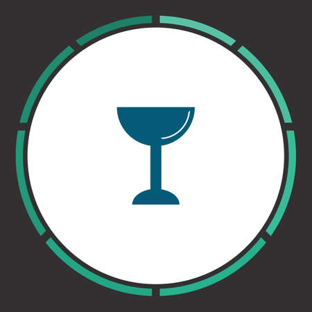 Wine glass Icon Vector. Flat simple Blue pictogram in a circle. Illustration symbol