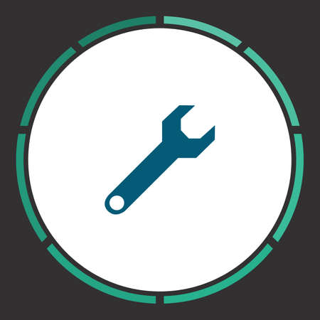 Wrench screw Icon Vector. Flat simple Blue pictogram in a circle. Illustration symbol