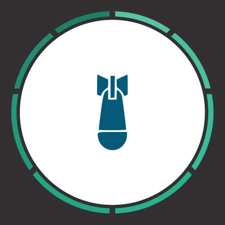 Bomb Icon Vector. Flat simple Blue pictogram in a circle. Illustration symbol