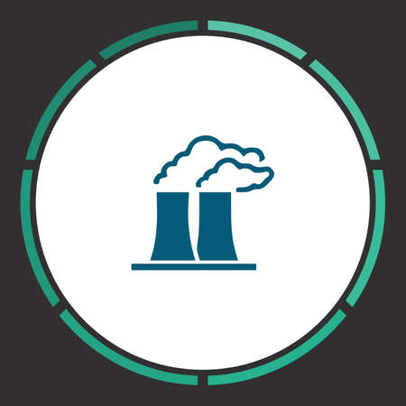 smoke stack: Factory Icon Vector. Flat simple Blue pictogram in a circle. Illustration symbol