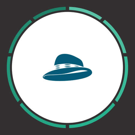pent: Hat Icon Vector. Flat simple Blue pictogram in a circle. Illustration symbol